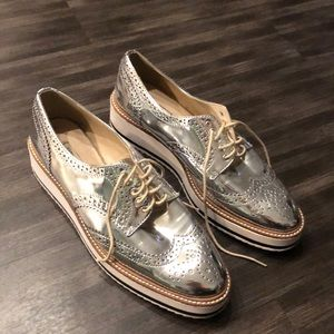 Like New Zara silver platform loafers